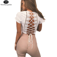 NewAsia Garden Plunge V Neck Back Lace Up Women Crop Top Lace Insert Backless T Shirt