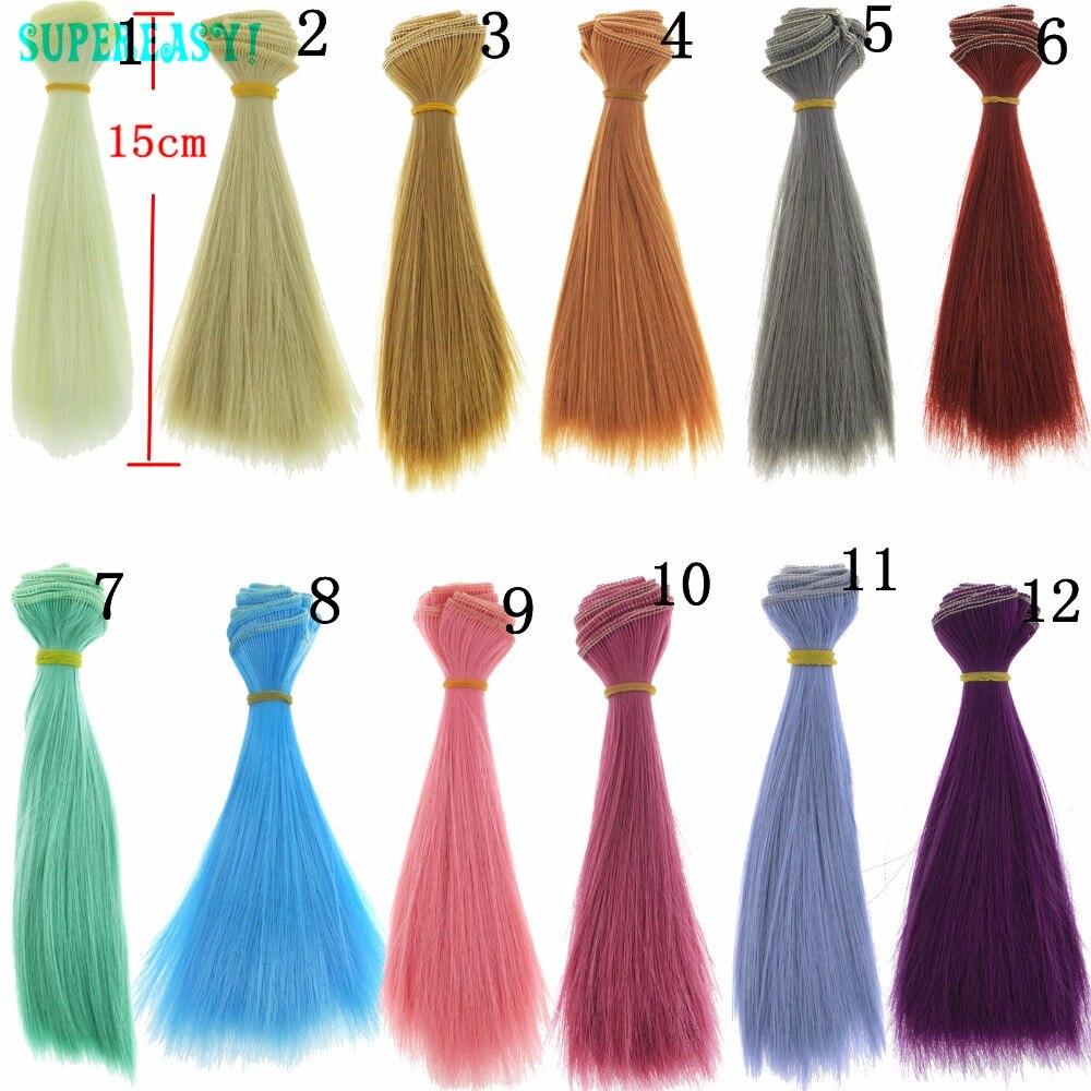 1 pcs High-temperature 15CM*100CM  BJD Doll Wigs Blue Pink Brown Khaki White Grey Color Fashion Straight Wig Hair For Barbie