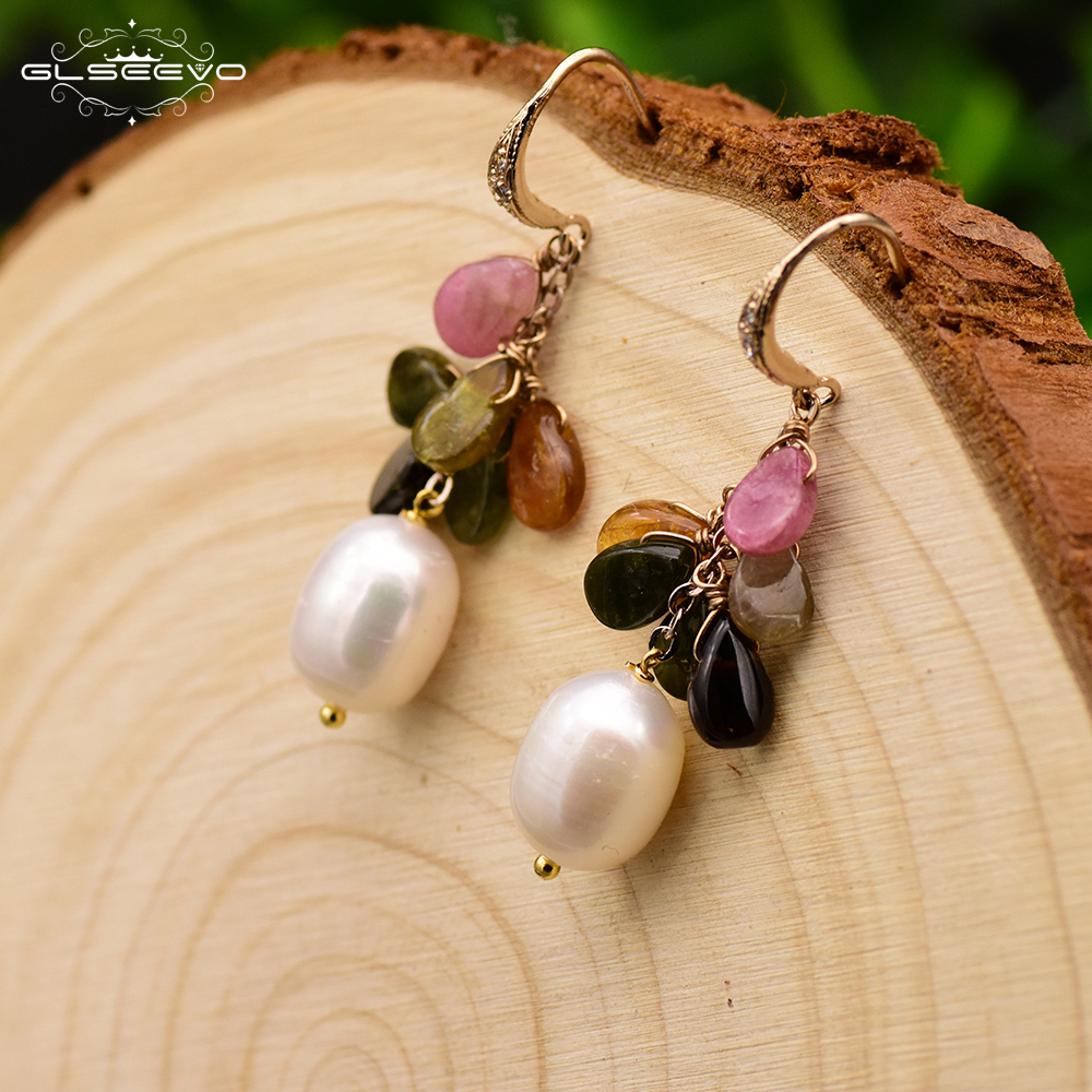 GLSEEVO Natural Fresh Water Baroque Pearl With Tourmaline Crystal Handmade Earrings For Women Drop Earring Fine