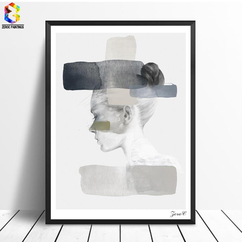 Қыз портреті кенеп плакаттар мен - Үйдің декоры - фото 2