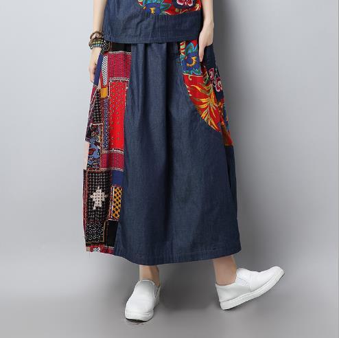 866d39874 Vendimia Bordado impreso algodón Lino falda estiramiento mujeres ...