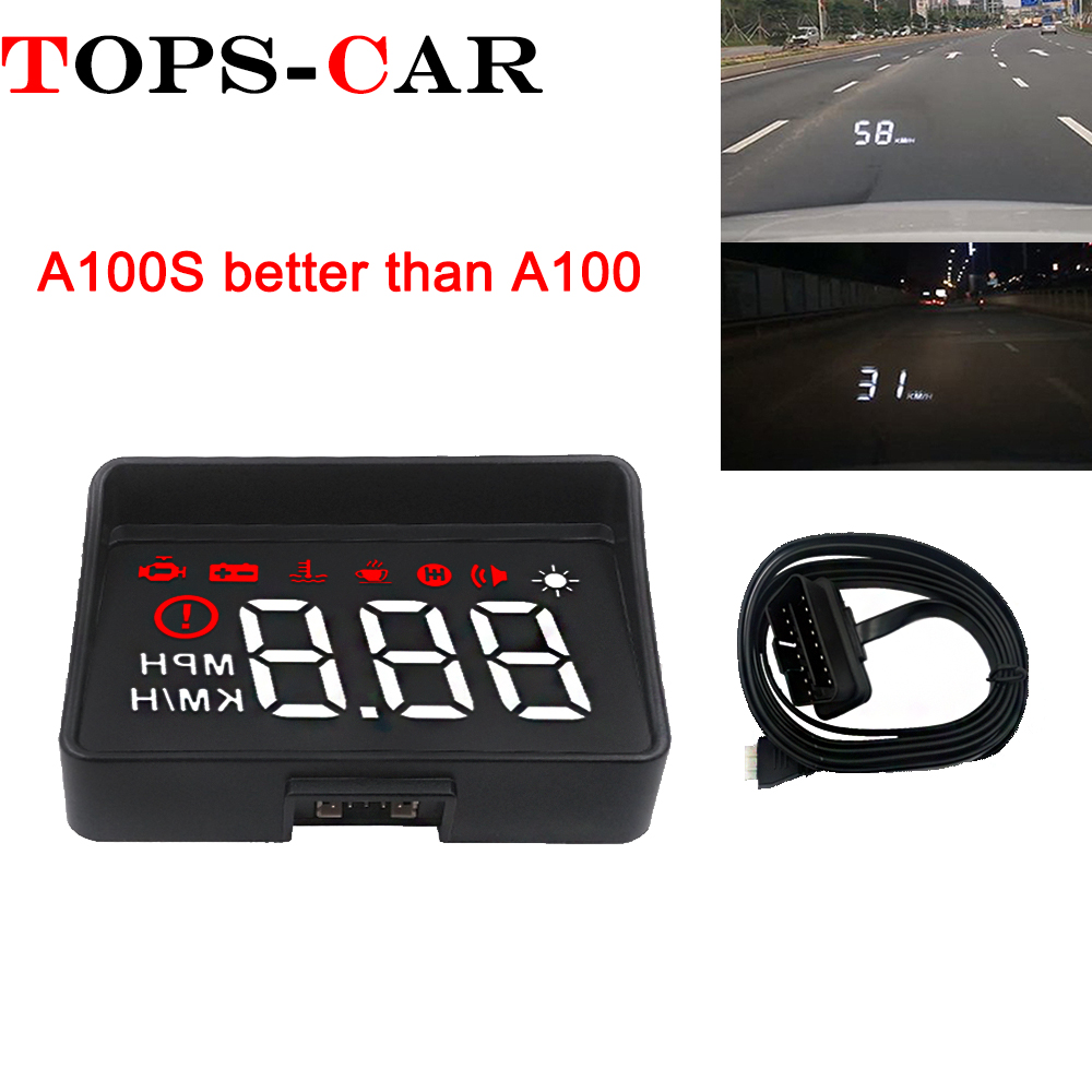 Newest A100S With Lens Hood Windshield Projector OBD2 II EUOBD Car HUD Head Up Display Overspeed Warning System Voltage Alarm-in Head-up Display from Automobiles & Motorcycles
