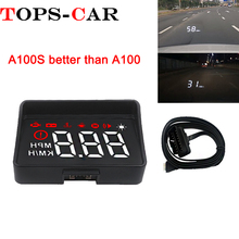 Newest A100S With Lens Hood Windshield Projector OBD2 II EUOBD Car HUD Head Up Display Overspeed Warning System Voltage Alarm bigbigroad car obdii 2 or euobd interface hud head up display digital speedometer windscreen projector overspeed warning