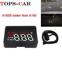 Новые A100S с блендой лобовое стекло проектор OBD2 II EUOBD автомобилей HUD Head Up Дисплей Overspeed Предупреждение Системы Напряжение сигнализации