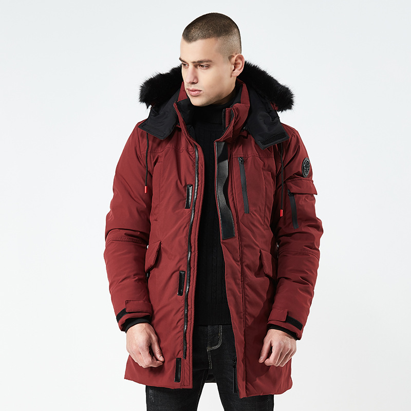 Men Parka Winter Jackets New Warm Hooded Fur Collar Overcoat Windbreak Outwear Male Red Coats Thickening Clothes Wholesale