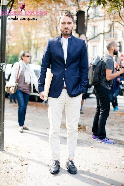 2015 Custom Made Royal Blue Jacket White Pants Tuxedo For Man ...