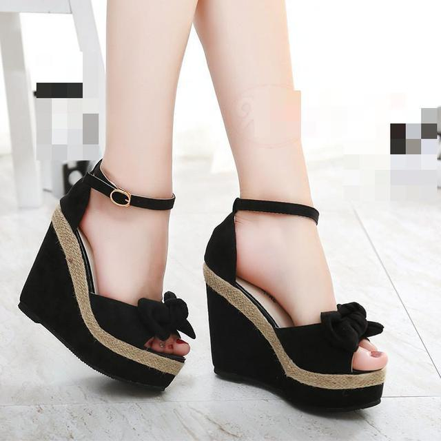 b788f934ceed Women Fish Mouth Thick Soles Sandals Waterproof Slide Muffin wedges Heels  Rome ladies  Sexy Nightclub princess shoes 35-39