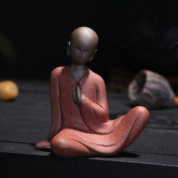 Mini Buddha Statues Tathagata India Yoga Mandala Sculptures Ceramic Tea Ceremony Ornaments Gift Home Decor Monk Figurine