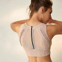 OVESPORT Mesh Patchwork Top Women 2018 Solid Back Zipper Sport Top Fitness For Women Workout Running Gym Breathable T shirt