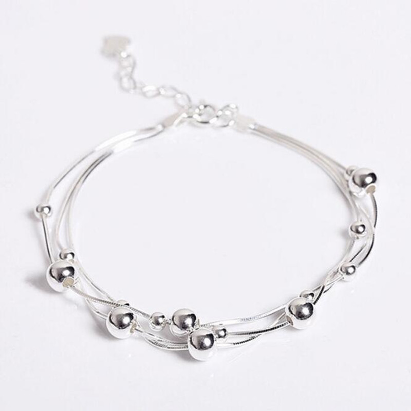 High-quality 925 Sterling Silver Jewelry Fashion Fresh Beauty Smooth Small Round Female Popular Bracelet SB56
