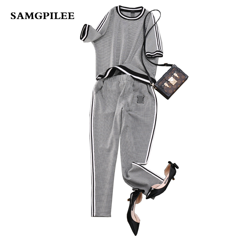 Two Piece Set Women New Short Sleeve Casual Women Set Pullover O-neck Elastic Waist Plaid 2 Piece Sets Womens Outfits Vadim