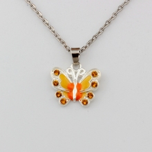 2pcs Yellow Rhinestone Enamel Butterfly Alloy Charms Pendant Necklaces Jewelry DIY 23.6 inches Chains A-508d
