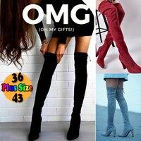 2019 пикантные вечерние сапоги; модная замшевая кожаная обувь; Женские Сапоги выше колена на каблуке; зимние высокие сапоги из флока; Botas