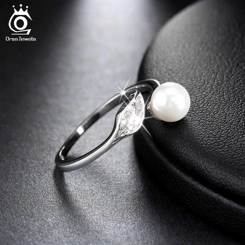 Orsa jóias 925 prata esterlina feminino anéis folha cz ajustável com grande simulado pérola prata festa de casamento jóias presente osr16