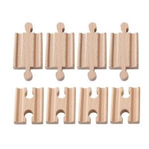Image 1 - 10 teile/los Weibliche Weiblich Männlich Männlich Holz Zug Tracks Set Adapter Eisenbahn Zubehör Eucational Spielzeug bloques de construccion