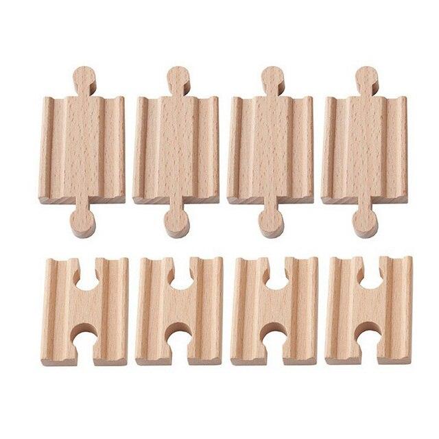 10 יח\חבילה נקבה נקבה זכר זכר עץ רכבת מסלולי סט מתאמי רכבת אביזרי Eucational צעצועי bloques דה construccion