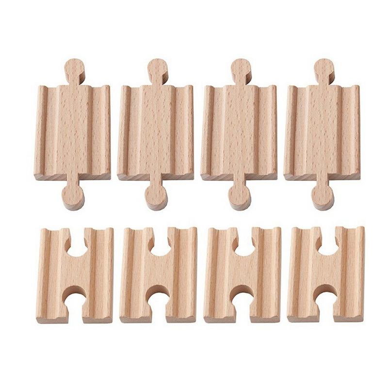 10pcs/lot Female-Female Male-Male Wooden Train Tracks Set Adapters Railway Accessories Eucational Toys Bloques De Construccion