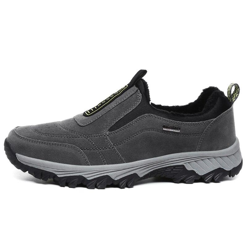 MVVT Winter Shoes Suede Leather Men Shoes Fur Warm Men Casual Shoes Outdoor Men Loafers Non-slip Snow Shoes Hot Men Footwear