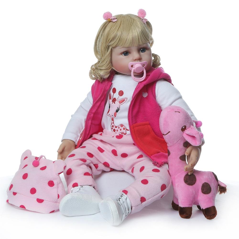 Nicery 23 24 inch 58 60 cm bebe reborn doll 부드러운 실리콘 소년 소녀 장난감 reborn 아기 인형 어린이를위한 선물 blond curls pink giraffe-에서인형부터 완구 & 취미 의  그룹 2