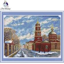 Joy Sunday,Winter,cross stitch embroidery,printing cloth embroidery,Scenery pattern cross stitch,Needlework counted cross-stitch