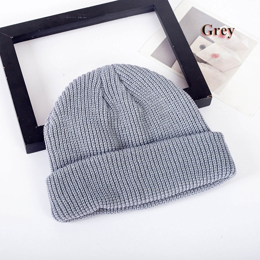 1PC Unisex Knitted Hat Skull Cap Men Women Winter Warm Hip Hop Beanie Hats Navy Ribbed Turn Ski Docker Casual Solid Color Hats