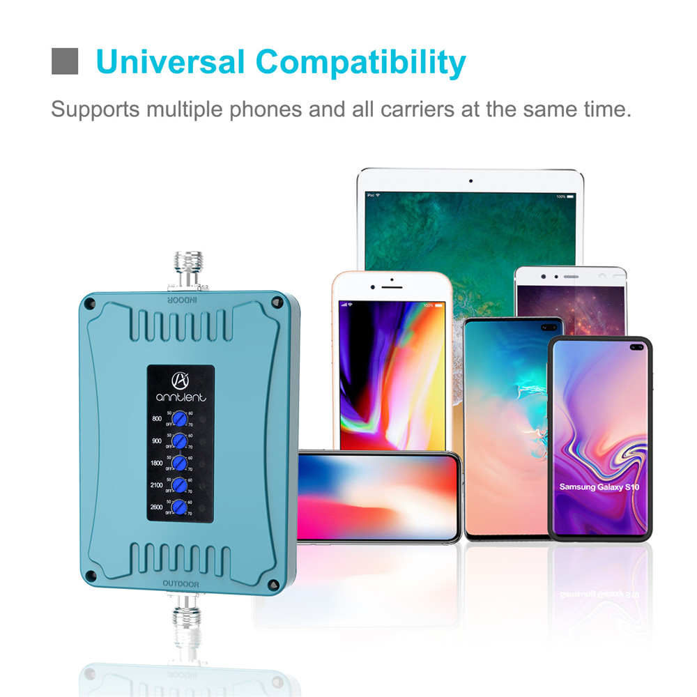 GSM Repeater Five Band 4G LTE 800 2600MHz 2G EGSM 900MHz 3G 2100MHz 2G 4G 1800MHz Cell Phone Signal Booster Repeater 900 Booster in Signal Boosters from Cellphones Telecommunications