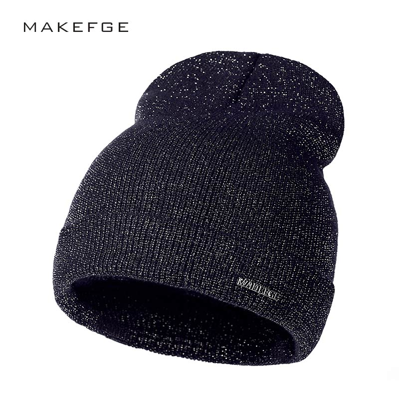 shine hat gold and silver silk  Autumn Winter Hats For   Warm Women'S  Casual Knitted Hat Female Skullies Beanies  New trend cap bingyuanhaoxuan2017 warm patchwork hats casual female autumn winter hats handmade coarse knitted hat for women beanies candy cap