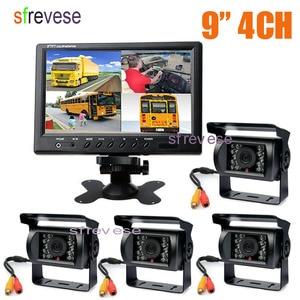 "Image 1 - 4x 18 IR Night Vision Car Reversing Parking Backup Camera + 9"" LCD 4CH Quad Split Monitor Car Rear View Kit for Bus Truck 12V 24"