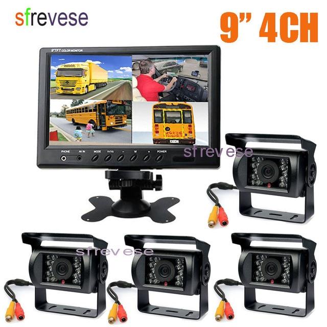 "4x 18 IR Night Vision Car Reversing Parking Backup Camera + 9"" LCD 4CH Quad Split Monitor Car Rear View Kit for Bus Truck 12V 24"