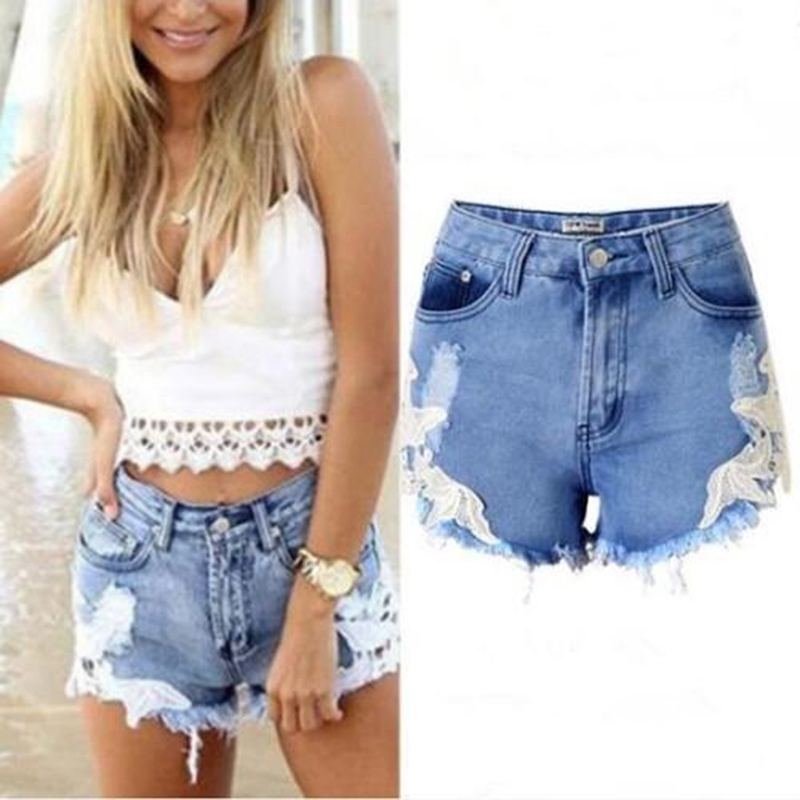 Euro Style High Waist Denim Women   Shorts   Stretch Casual Basic Jeans   Shorts   High Quality Ripped Lace   Shorts   For Summer