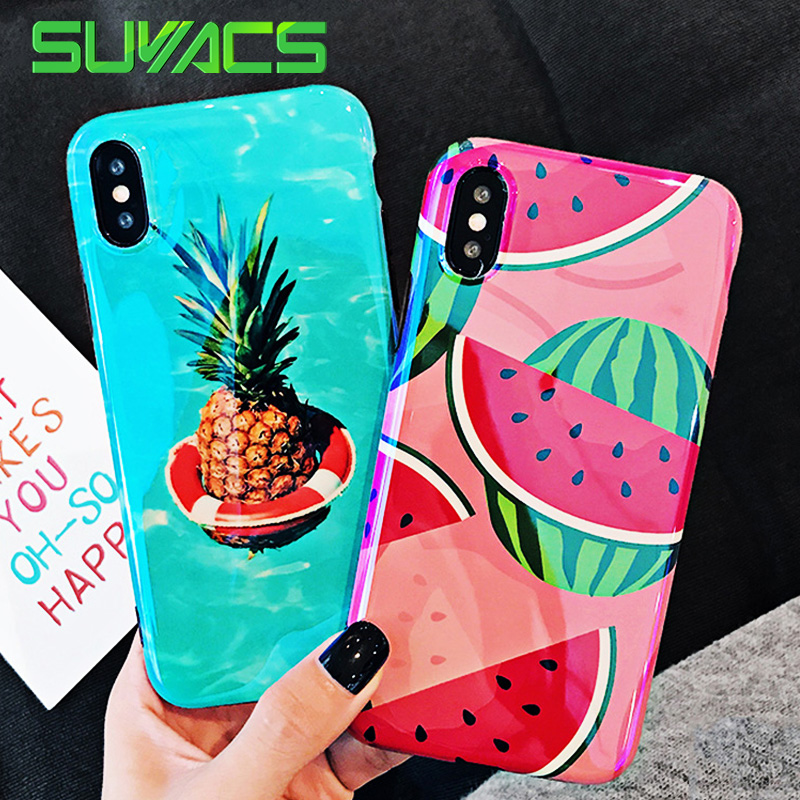 SUYACS Summer Fruit Strawberry Pineapple Watermelon Phone Case For iPhone 6 6S 7 8 Plus X Blu-Ray Glossy Soft IMD Shell Cover