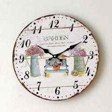 2016 New Design Garden Flowers Digital Wall Clock Home Living Room Office Deco Wood Clock