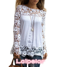 2018 Fashion Women Chiffion Blouse And Shirts White Long Sleeve Lace Tops Plus Size Blusas Crochet Flower Ladies chemise femme plus size long sleeve lace spliced crochet blouse