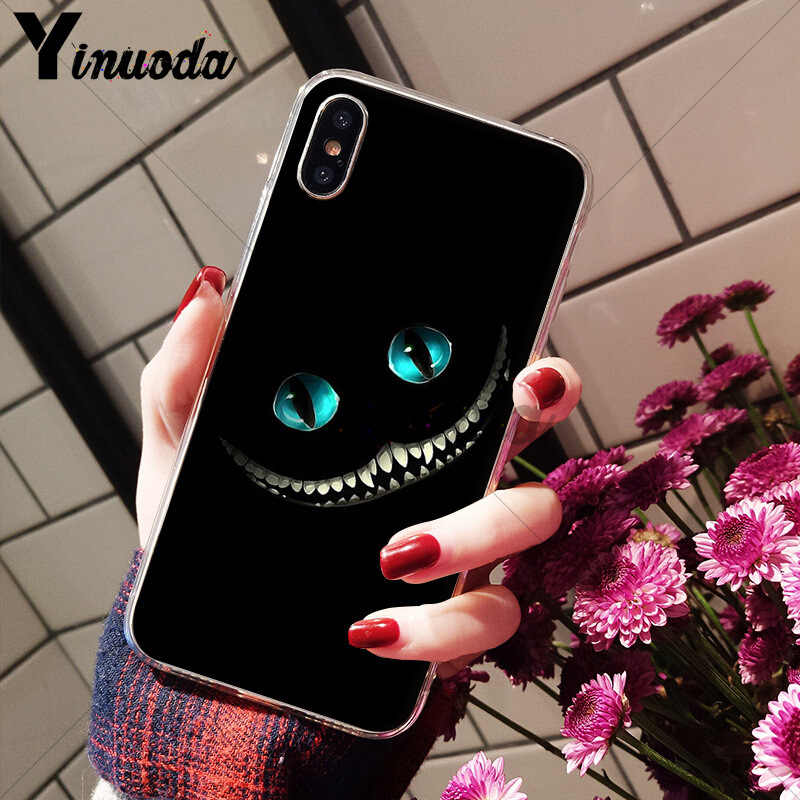 غطاء هاتف من Yinuoda Alice in Wonderland شيشاير كات مصنوع من السيليكون الناعم لهاتف أبل آيفون 8 7 6 6S Plus X XS MAX 5 5s SE XR