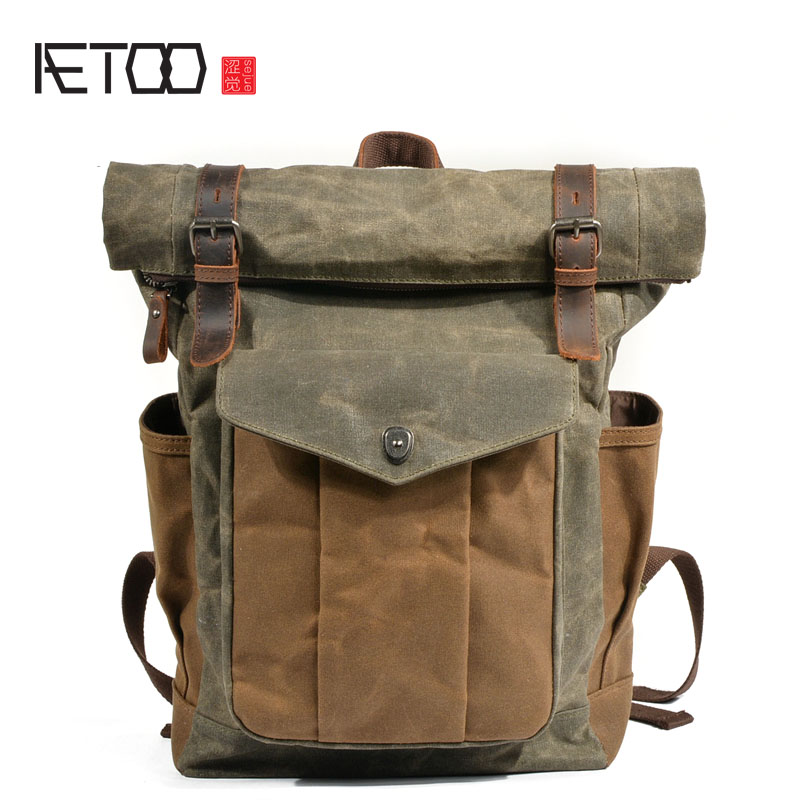 AETOO European and American retro canvas bag men and women backpack batik canvas travel computer bag oil wax canvas bag