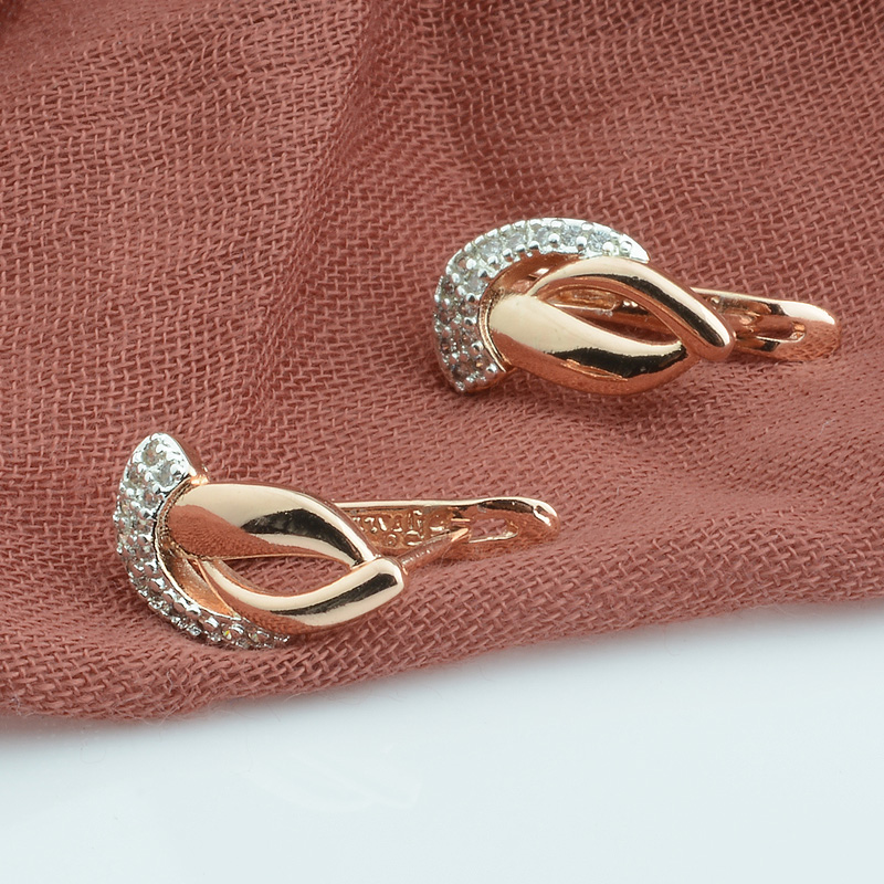 FJ Women 585 Rose Gold Color Mixed White Drop Earrings Geometrc Jewelry