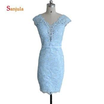 Blue Satin Short Night Party Dresses Knee Length V Neck Cap Sleeve Sheath Formal Prom Dress Beaded Shiny Party Gowns D18