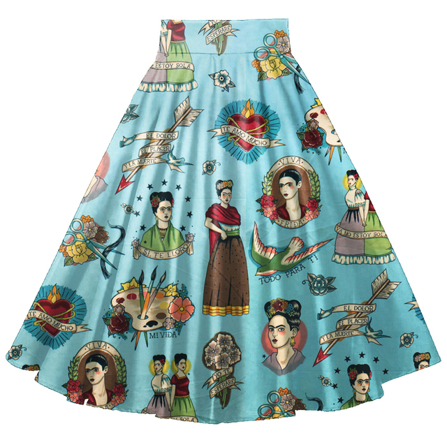 85ae9035e6be High Waisted Full Circle Swing Skirts Rich Blue Frida Floral Vintage  Rockabilly Elastic Skirt With Pockets Vestidos Jupe