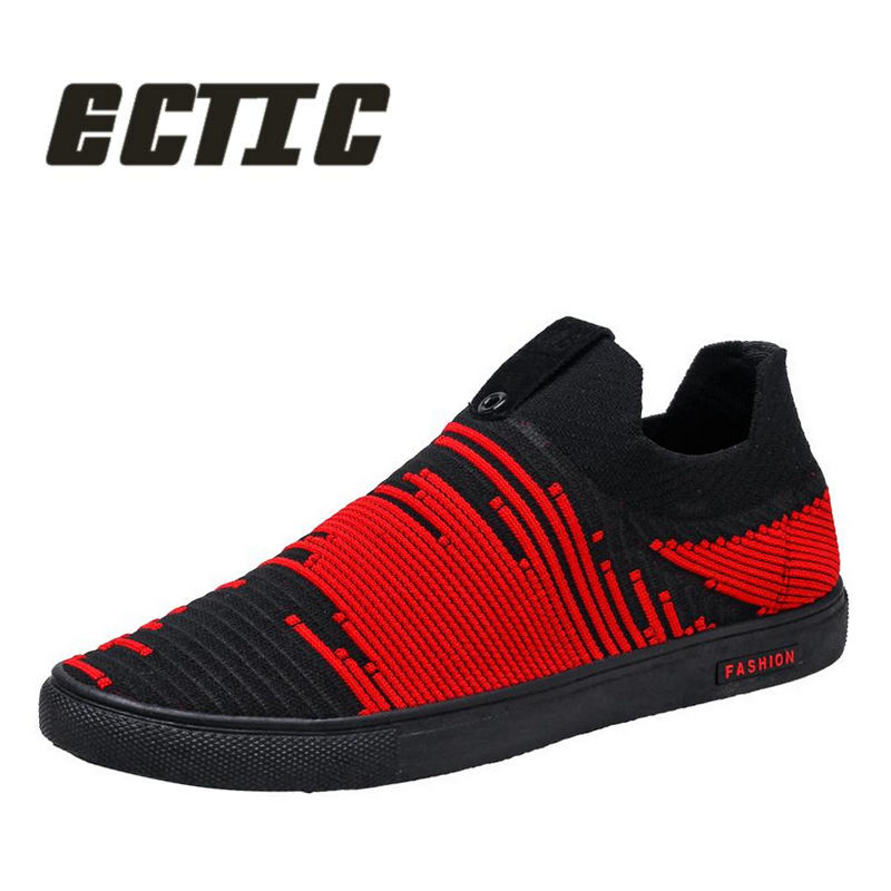 ECTIC 2018 New air mesh flat adult men canvas shoes Young sneaker shoes Breathable Men casual shoes driving loafer shoes CC-071