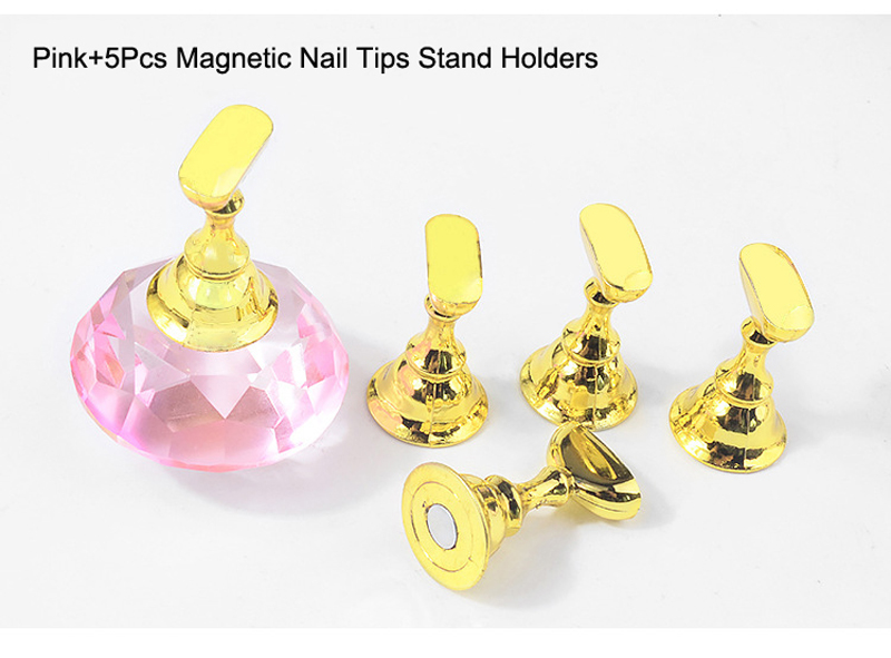 Купить с кэшбэком 1 Set with 5pcs holder Nail Art Display 4 Color Nail Polish Rack Display Holder Chess Board Magnetic Art Tip Stand Crystal Tools
