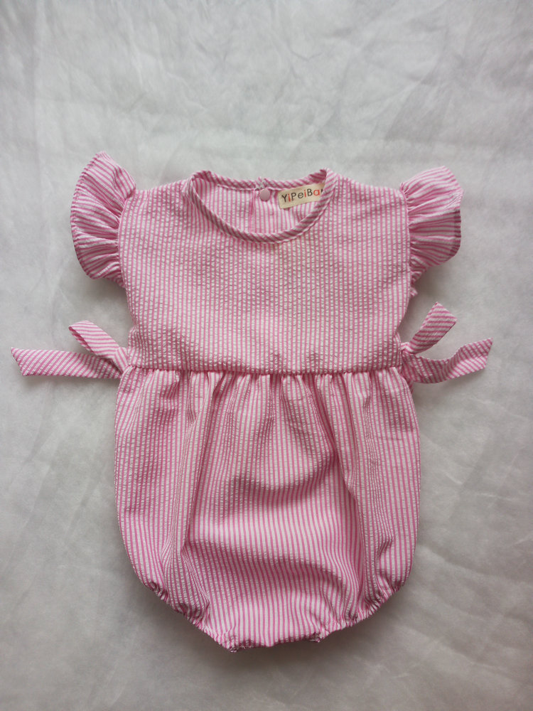 Ins Hot European&American Style Romper Striped&blowknot Pink Sweest Cute Overalls for Height 70cm-100cm