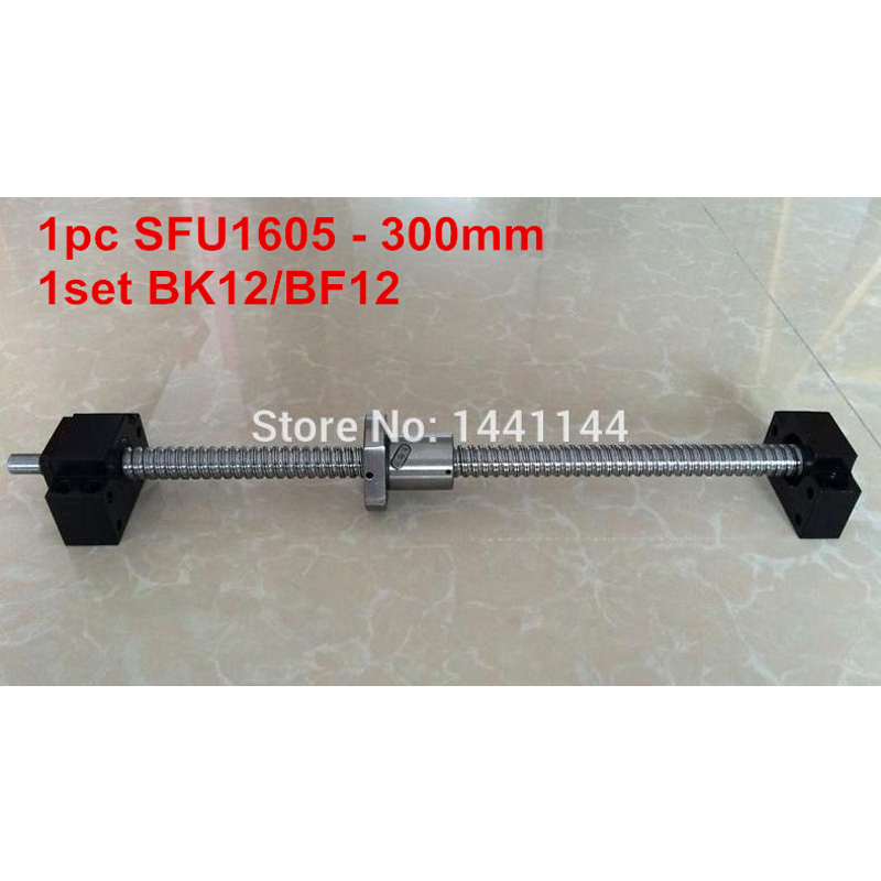 1pc SFU1605 - 300mm Ballscrew with end machined + 1set BK12/BF12 Support CNC part 1pc sfu1605 1100mm ballscrew with end machined 1set bk12 bf12 support cnc part