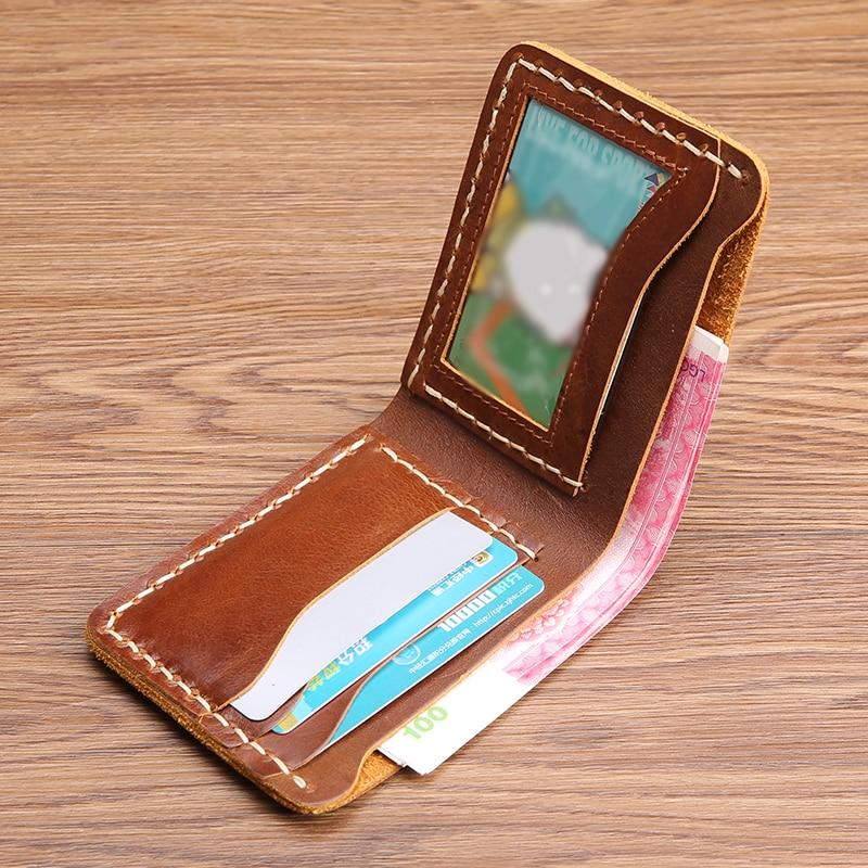 Männliche Einfache Handgemachte Männer Gerben Kurzen Brieftasche Geld Leder Clip Brown Casual Bjyl Retro Rindsleder 4X05wnq