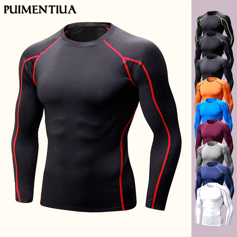 Puimentiua Spring Autumn Men's Sports Stretch Quick-drying Long-sleeved Compression Tight Fitness Running  Muscle T-Shirts