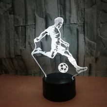 3D светодиодный светильник 7 цветов, изменяющая иллюзию, лампа для футбола, ночник, 3D Визуальный свет, подарок для любителей футбола, спорта, лава, лампа