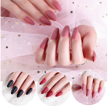 24pcs Pink Middle Long Full Cover Frosted Nail Tips Round Head Matte Coffin False Nails Black Pointed Oval Fake Nails Art Set nail art wine red fake nail full cover matte false nails short head soft pure color frosted artificial tips