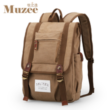 Free shipping Muzee Men's  backpack Canvas casual bags High school backpack Computer travel package