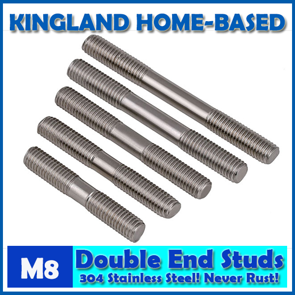M8 Double End Studs 304 Stainless Steel Double End Thread Tight Adjustable Push Rod Stud Screw Bolt Silver Ton