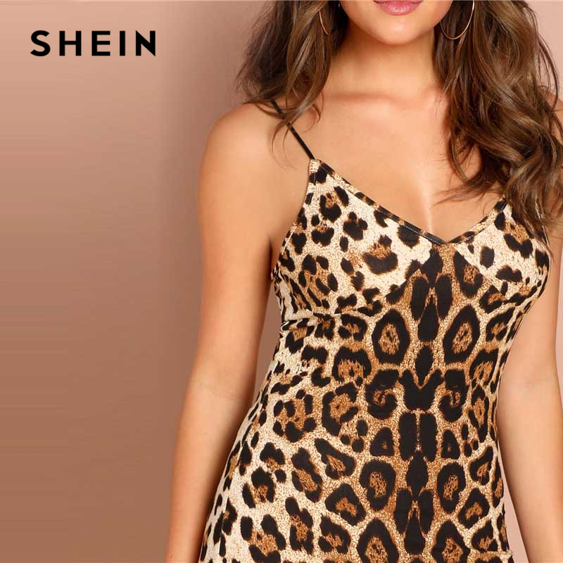 e7c8772612da SHEIN Multicolor Sexy Party Backless Leopard Print Cami Sleeveless Pencil  Skinny Club Dress Autumn Night Out Women Dresses-in Dresses from Women's  Clothing ...