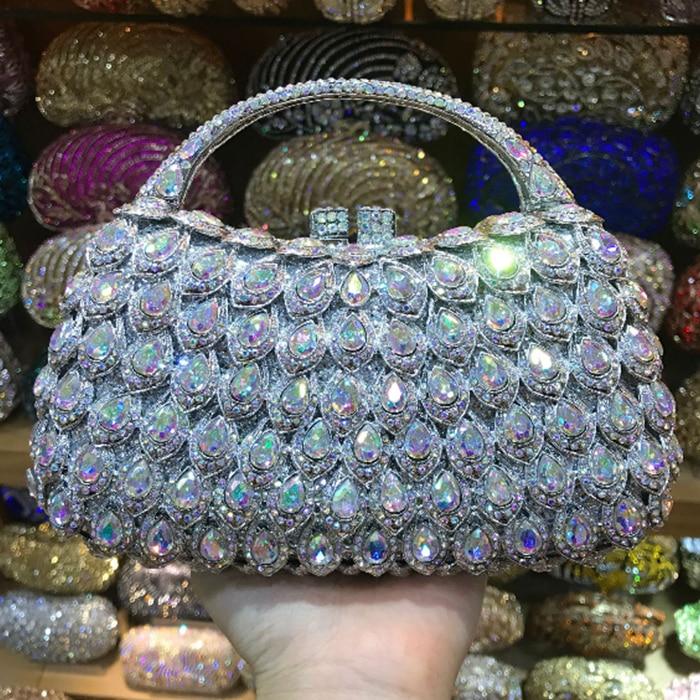 цена на XIYUAN BRAND Women Crystal Clutch Evening Bag Wedding Party Cocktail Rhinestone Metal Handbag Purse